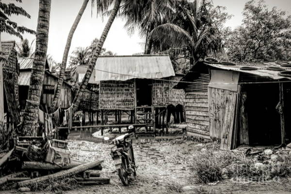 Mud House Photograph - Sepia Tones Home Shelter Rural Cambodia  by Chuck Kuhn