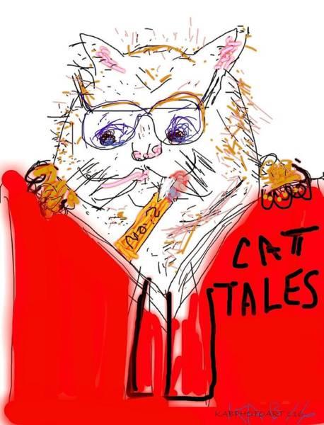 Back-to-school Digital Art - September -- Back To School Cat by Kathy Barney