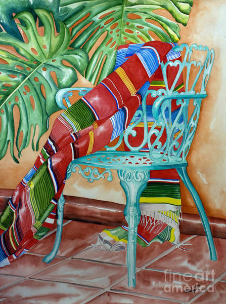 Painting - Serape On Wrought Iron Chair II by Kandyce Waltensperger