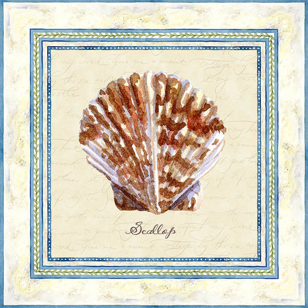 Wall Art - Painting - Serene Shores - Scallop Shell by Audrey Jeanne Roberts