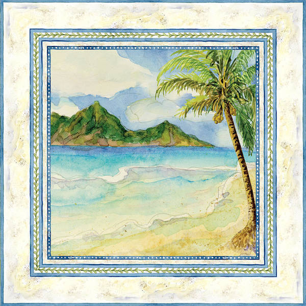 Honeymoon Painting - Serene Shores - Tropical Island Beach Palm Paradise by Audrey Jeanne Roberts