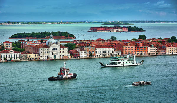 Photograph - Blue Seascape With Red Buildings In Venice, Italy by Fine Art Photography Prints By Eduardo Accorinti