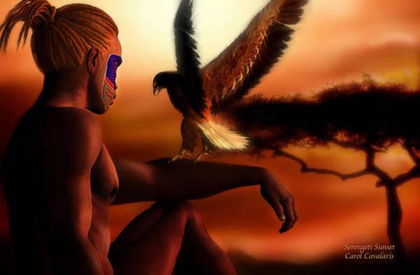 Mixed Media - Serengeti Sunset by Carol Cavalaris