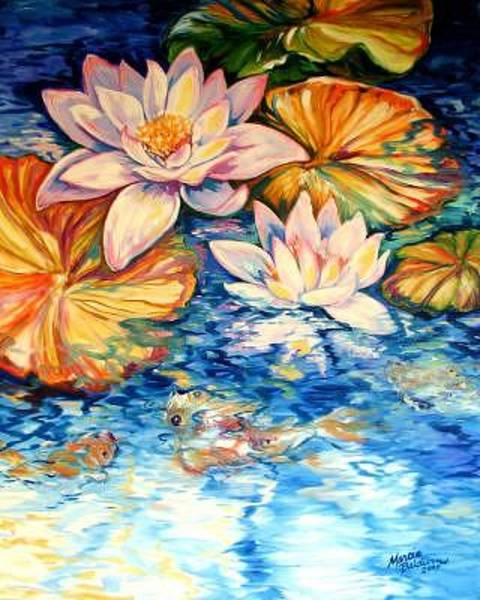 Painting - Serenity By M Baldwin A Water Lily Koi Pond Original by Marcia Baldwin