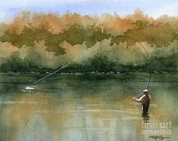Trout Watercolor Wall Art - Painting - Serenity by David Rogers