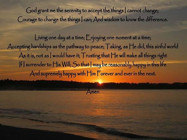 Seacoast Photograph - Serenity Prayer Full Version by Patricia Urato