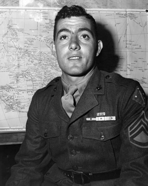 Medal Of Honor Photograph - Sergeant John Basilone - World War Two - 1943 by War Is Hell Store