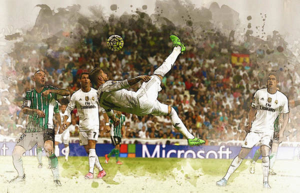 Manchester United Fc Wall Art - Digital Art - Sergio Ramos Tries To Score A Goal  by Don Kuing