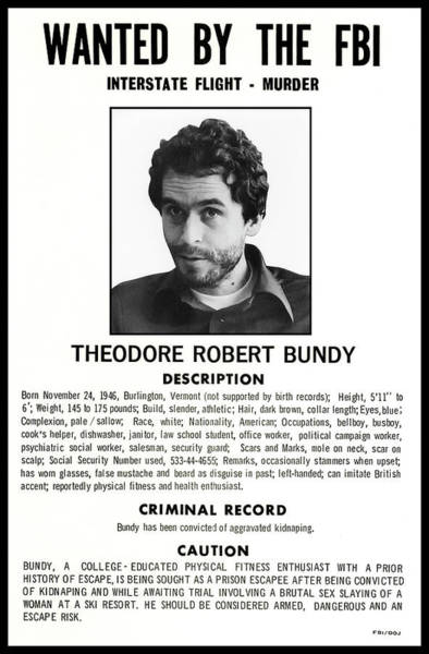 Sly Photograph - Serial Killer Ted Bundy by Daniel Hagerman