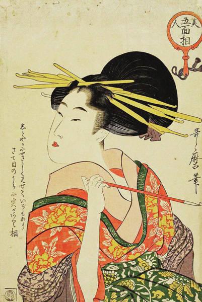 Kansai Painting - Series Five Physiognomies Of Beauties by Kitagawa Utamaro
