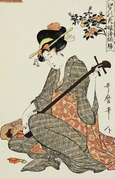 Kansai Painting - Series Flowers Of Edo  Girl Ballad Singers by Kitagawa Utamaro
