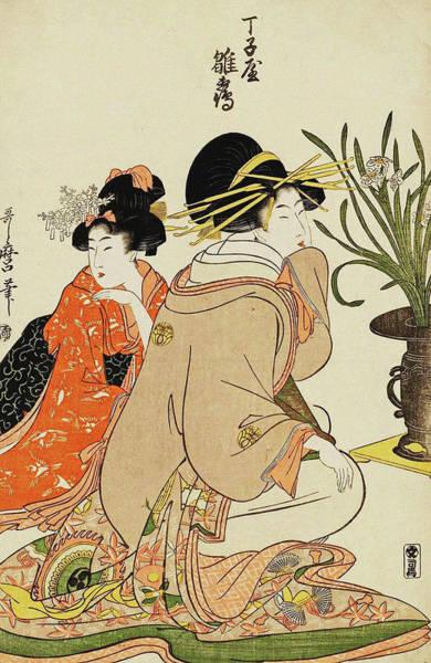 Kansai Painting - Series Of Courtesans Arranging Flowers by Kitagawa Utamaro