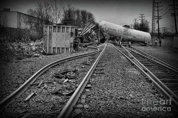 Train Derailment Photograph - Serpentine Railroad Tracks In Black And White by Paul Ward