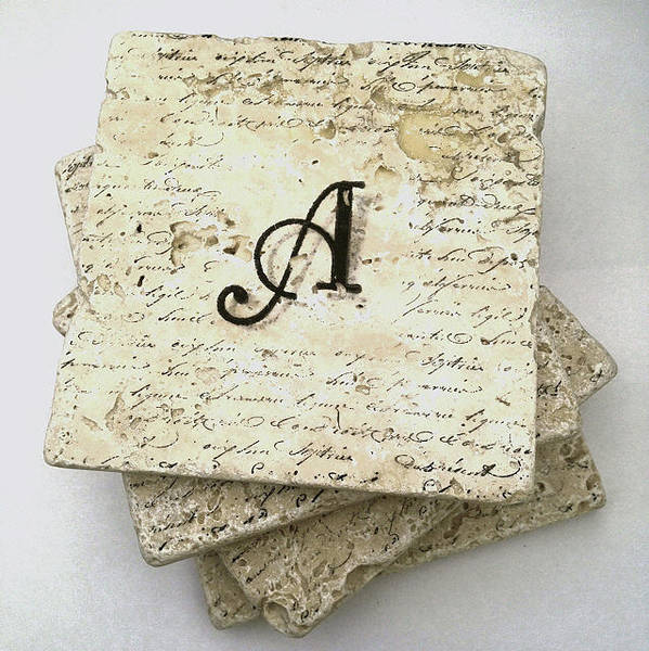 Mixed Media - Set Of 4 Monogram Tile Coasters With Script by Angela Rath