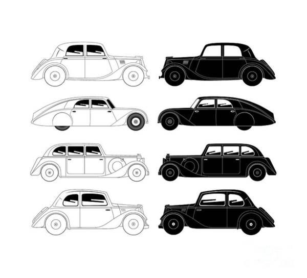Digital Art - Set Of Vintage Cars by Michal Boubin