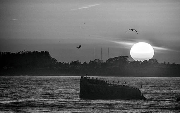 Photograph - Setting Sun Sinking Ship by AJ Schibig