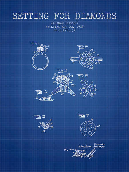 Wall Art - Digital Art - Setting For Diamonds Patent From 1918 - Blueprint by Aged Pixel