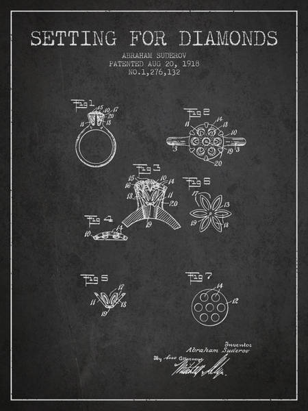 Wall Art - Digital Art - Setting For Diamonds Patent From 1918 - Charcoal by Aged Pixel