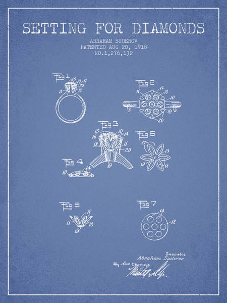 Wall Art - Digital Art - Setting For Diamonds Patent From 1918 - Light Blue by Aged Pixel