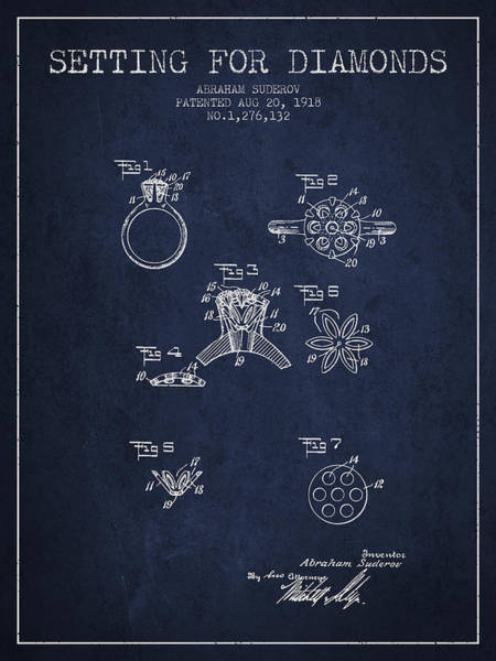 Wall Art - Digital Art - Setting For Diamonds Patent From 1918 - Navy Blue by Aged Pixel