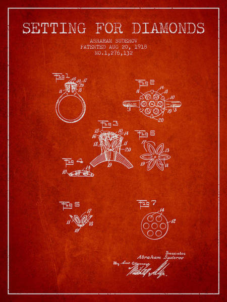 Wall Art - Digital Art - Setting For Diamonds Patent From 1918 - Red by Aged Pixel