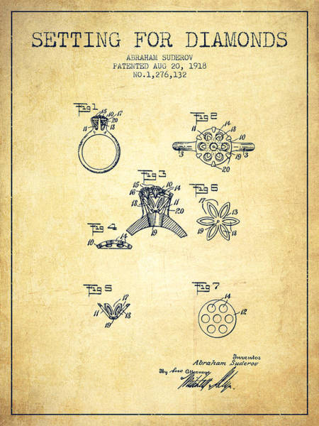 Wall Art - Digital Art - Setting For Diamonds Patent From 1918 - Vintage by Aged Pixel