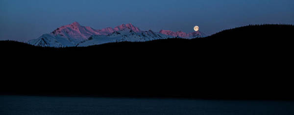 Photograph - Setting Moon Over Alaskan Peaks II by Matt Swinden