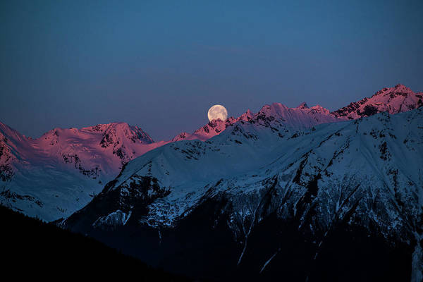Photograph - Setting Moon Over Alaskan Peaks Iv by Matt Swinden