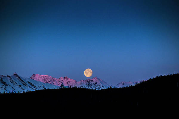 Photograph - Setting Moon Over Alaskan Peaks by Matt Swinden