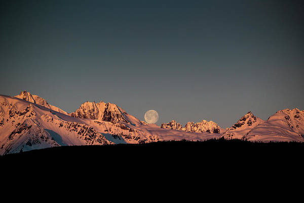 Photograph - Setting Moon Over Alaskan Peaks V by Matt Swinden