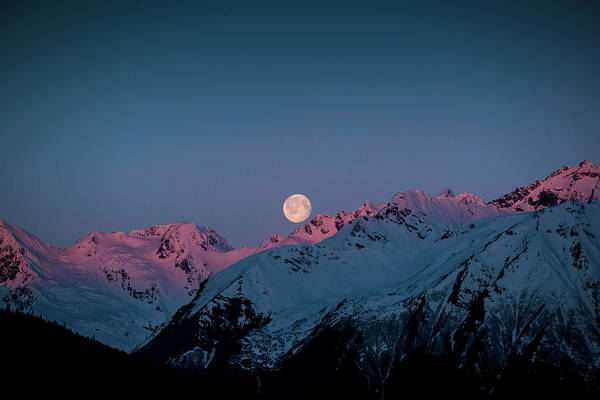 Photograph - Setting Moon Over Peaks IIi by Matt Swinden