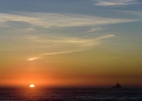 Photograph - Setting Sun And Tillamook Rock by Robert Potts