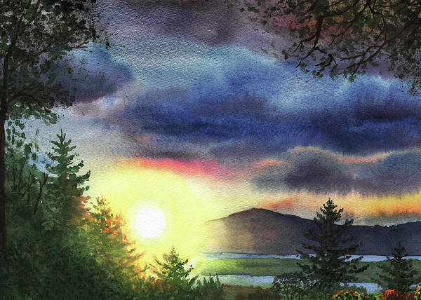 Wall Art - Painting - Setting Sun Watercolor Painting  by Irina Sztukowski
