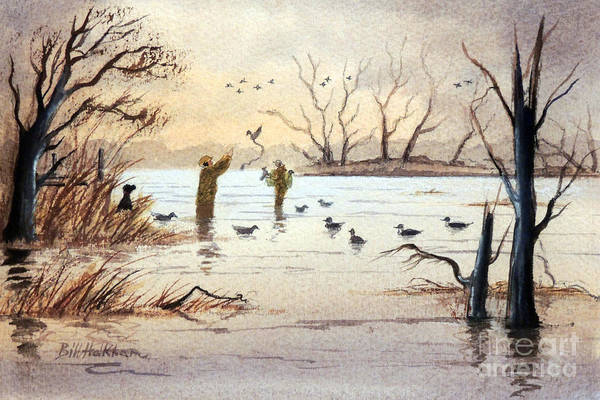 Wall Art - Painting - Setting The Decoys II by Bill Holkham