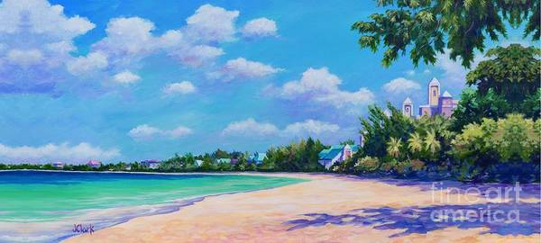 Brac Painting - Seven Mile Beach And Ritz Carlton by John Clark