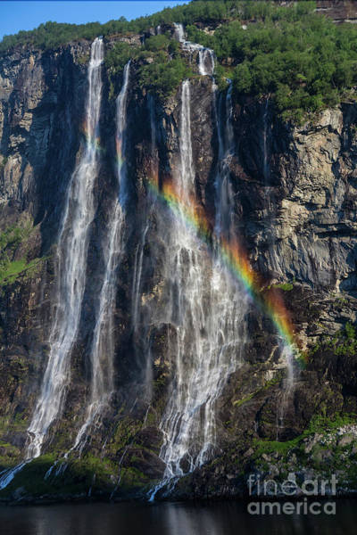 Wall Art - Photograph - Seven Sisters Falls, Geiranger, Norway With Rainbow by Sheila Smart Fine Art Photography