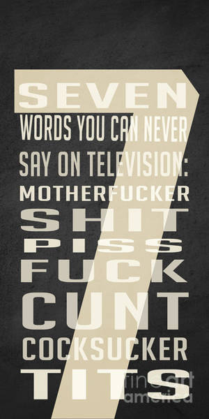 Digital Art - Seven Words You Can Never Say On Television by Edward Fielding