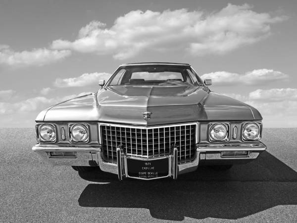 Photograph - Seventies Superstar - '71 Cadillac In Black And White by Gill Billington