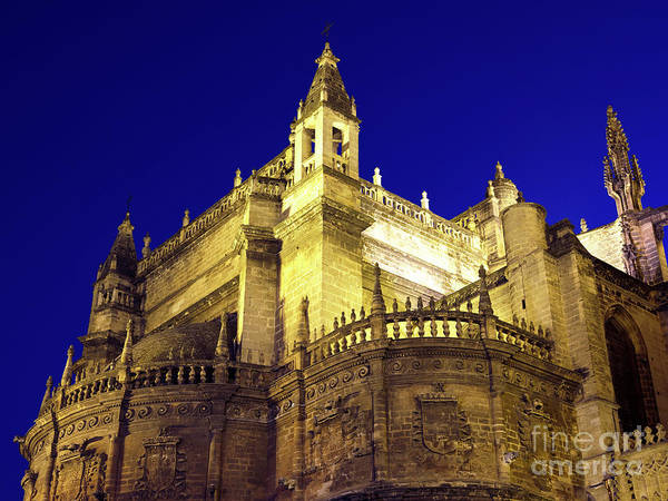 Catedral De Sevilla Wall Art - Photograph - Seville Cathedral Night Lights by John Rizzuto