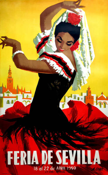 Wall Art - Painting - Seville Festival, Dancing Woman by Long Shot