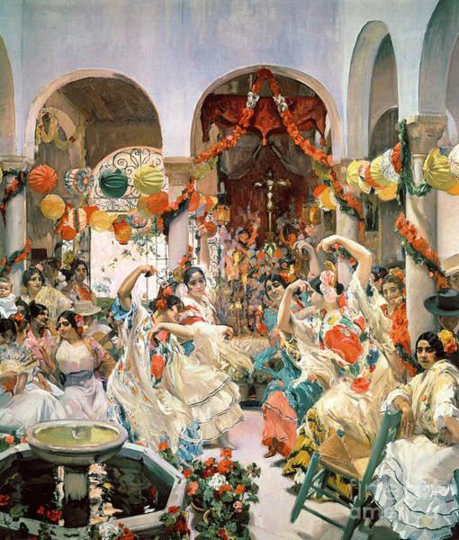 Feast Painting - Seville by Joaquin Sorolla y Bastida