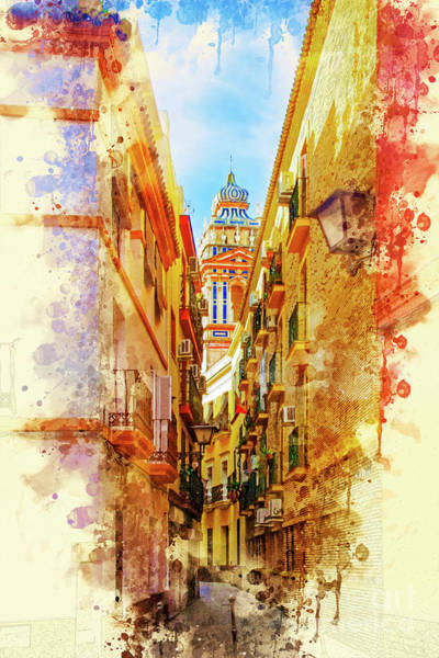 Balcony Digital Art - Seville Street In Watercolor by Mary Machare