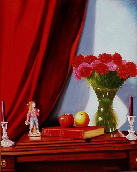 Painting - Sewing Carnations by Gene Gregory