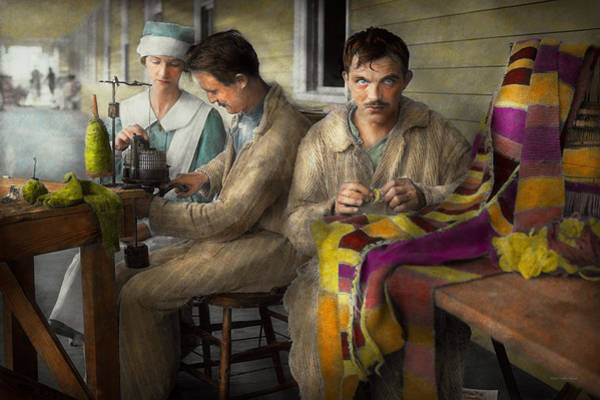 Photograph - Sewing - Knitting Helps Me To Relax... 1917 by Mike Savad