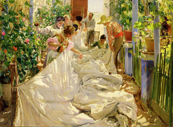 Wall Art - Painting - Sewing The Sail by Joaquin Sorolla