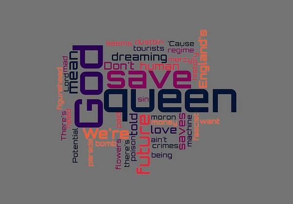 Digital Art - Sex Pistols - God Save The Queen Lyrical Cloud by Susan Maxwell Schmidt