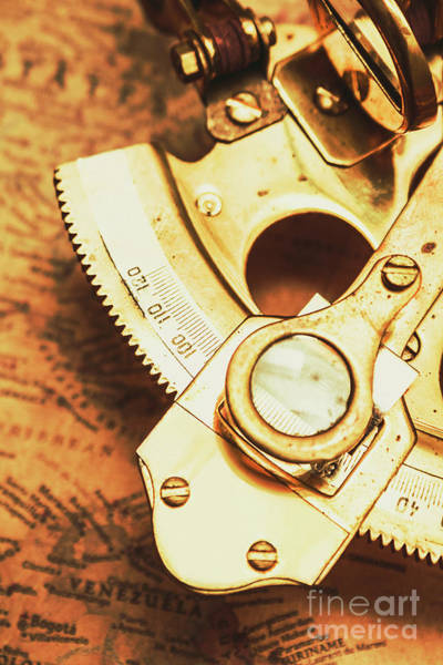 Object Wall Art - Photograph - Sextant Sailing Navigation Tool by Jorgo Photography - Wall Art Gallery