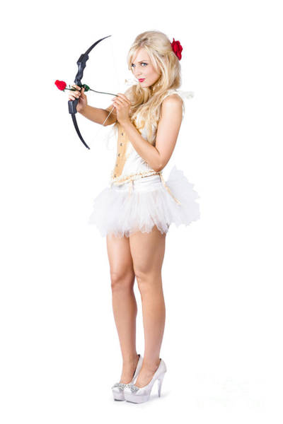 Archery Photograph - Sexy Cupid In High Heels With Red Rose by Jorgo Photography - Wall Art Gallery