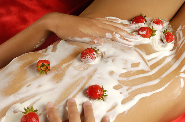 Belly Photograph - Sexy Nude Woman Body Covered With Cream And Strawberries by Oleksiy Maksymenko