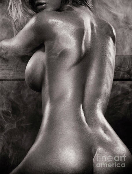 Wall Art - Photograph - Sexy Nude Woman In Steam Room Naked Back Artistic Black And Whit by Oleksiy Maksymenko